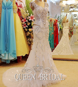 Image 2 - Custom Made 100% Real Photo Luxury Wedding Dresses Mermaid V neck Crystal Stones Beaded Long Formal Sexy Bridal Gown RT12