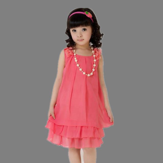 Luz ropa de los niños niñas vestido de tirantes de verano 2016 vestido de gasa rosa roja amarillo 7 8 9 10 11 12 13 años de edad dulce