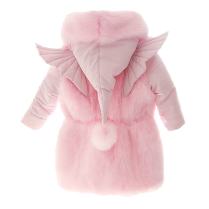 Winter Fur Coat Parkas for girls pink Thick Warm Hooded Big Fur Collar wing Kids Jackets Coats Fox Fur Children Outerwear купить в Москве 2019