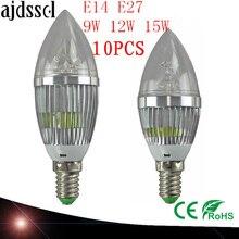 10X LED Candelabra Bulb candle light E14 E27 9W 12W 15W Warm/Nature/ Cool White Bulb Lamp Dimmable 110V220V Led bulb lampCE ROHS цена 2017