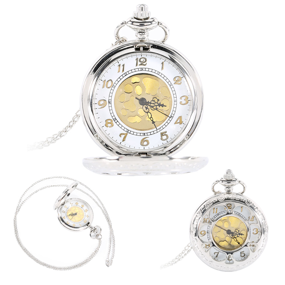 Vintage Silver Face Hollow Flower Quartz Gold Dial Pocket Watch Necklace Pendant with Chain Birthday Gifts LXH vintage gold silver big leaf pendant clavicle chain necklace for women