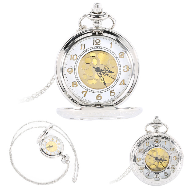 Vintage Silver Face Hollow Flower Quartz Gold Dial Pocket Watch Necklace Pendant
