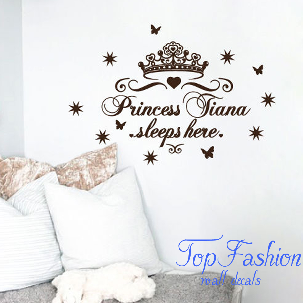 Custom Name Princess Sleeps Here Nursery Vinyl Wall Art Sticker Circuit Board Tree Graphic Stickers Decals Crown Decal For Girls Room Bedroom Anywhere Decor