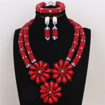 Dudo Red Jewelry Set For African Wedding Crystal Beaded Flowers Necklace Set For Nigerian Wedding 2 Layers Women Gift Ser 2019
