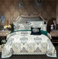 Новый Дизайн Европа жаккард Шелк Набор пододеяльников для пуховых одеял комплект Queen King Размер 4 шт взрослых атласа постельное белье Постел
