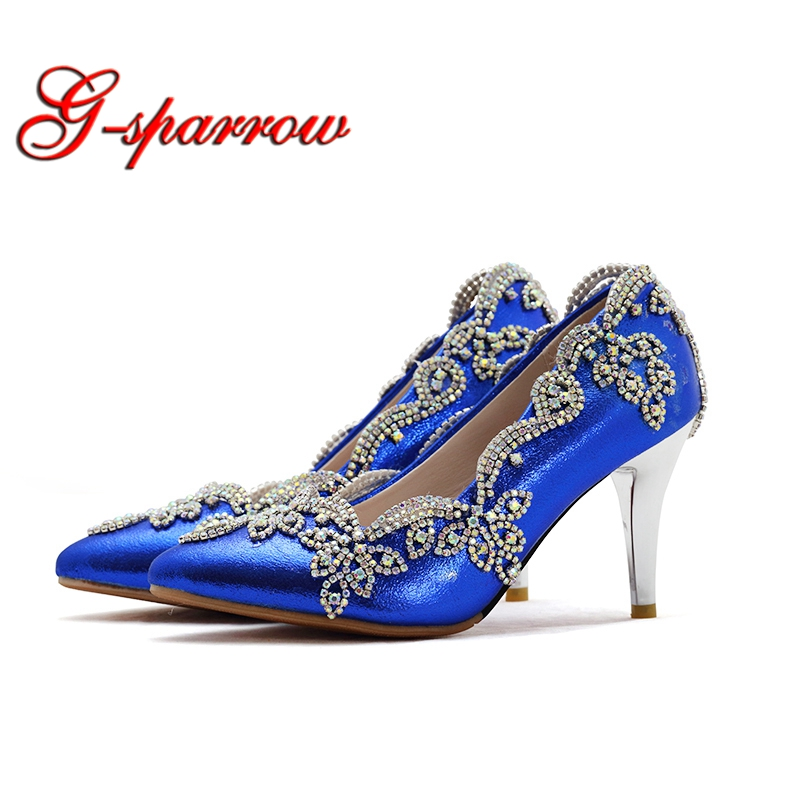 Stiletto Heel Blue Bridal Shoes Pointed Toe Wedding Bridal Shoes Middle Heel Mother of the Bride