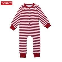 Купить с кэшбэком Baby Girls Boys Cotton Christmas Romper Newborn Striped Jumpsuit Kids Christmas Pajamas 2016 0-3Years D34