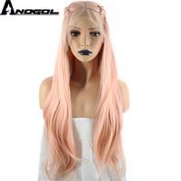Anogol High Temperature Fiber Braids Natural Long Wavy Pink Braided Princess Synthetic Lace Front Wig For Women Costume Party