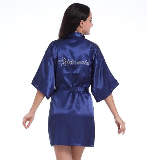 Women's Pure Colour Short Sparkle Rhinestone Bridesmaid Kimono Robes For Wedding Party Bride Bathrobe Sleepwear 8 Colors