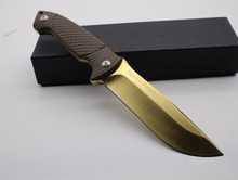 Gold-plated titanium Fixed Blade Knife 9CR18MOV hardness 61 HRC Full Tang Hunting Knife Survival Knives