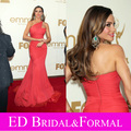 Sofia Vergara Coral Prom Dress 2011 Emmy Awards Red Carpet One Shoulder Chiffon Tulle Mermaid Celebrity Evening Gown