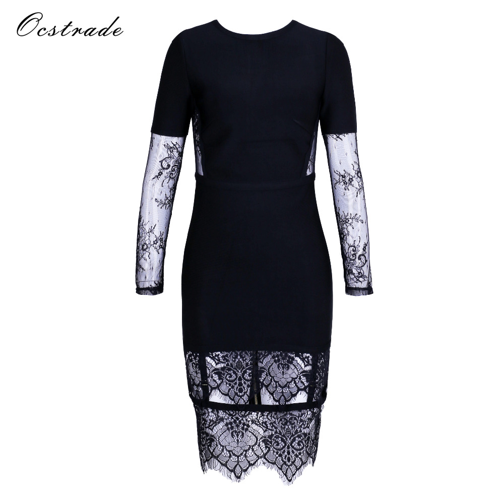 Ocstrade Wholesale 2017 Autumn Winter Lace Bodycon Dress Women Sexy Black Mesh Long Sleeve Bandage Dress