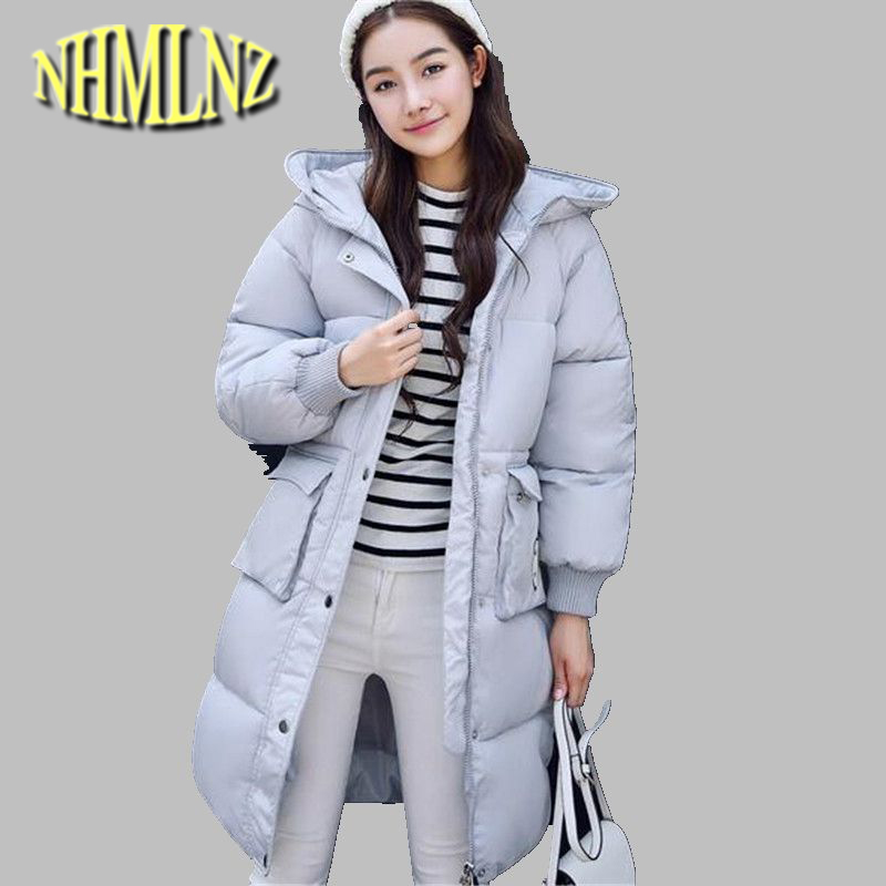 Female Winter Coat Pure color Long sleeve Hooded Jacket Thick Warm Cotton Down jacket Big yards Slim Students Women Coat G2685 europe winter big yards women coat warm duck down down jacket elegant pure color casual thick hooded slim women short coat g0451