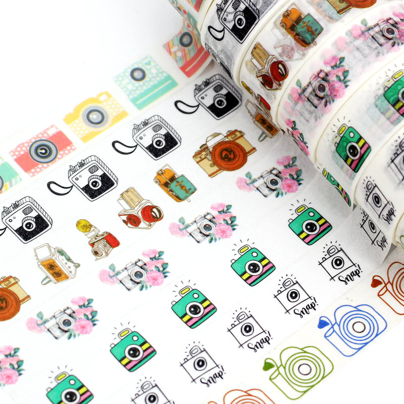 1.5cmx10M NEW Camera Washi Tape Set Planner Scrapbooking Cute Cinta Adhesiva Decorativa Masking Tapes Japanese Office Stationery