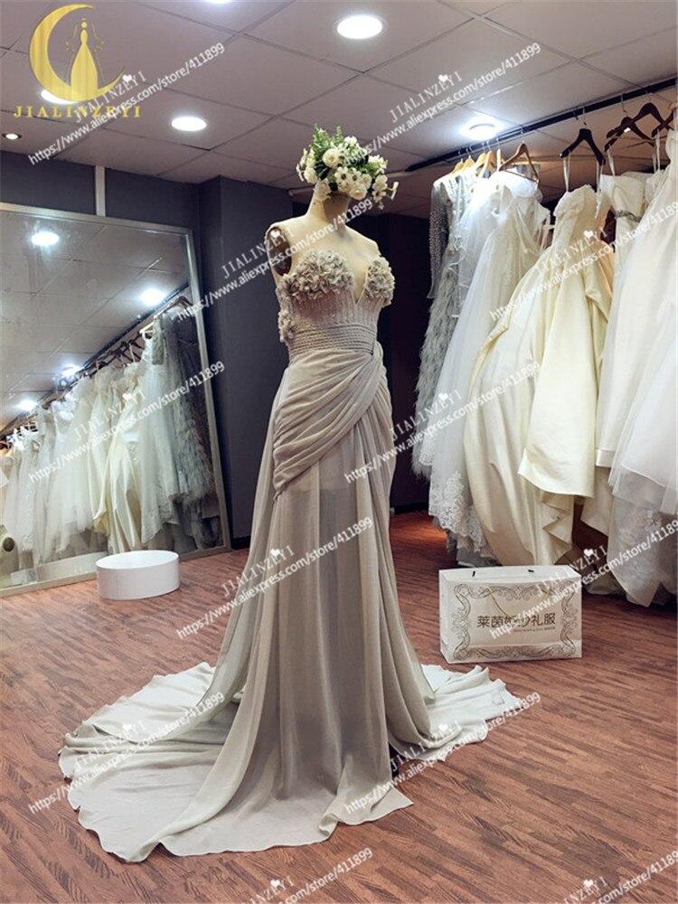 JIALINZEYI Image réelle Elie Saab chérie gris fleurs perles Sexy en mousseline de soie fille robe de soirée robes d'obtention du diplôme - 3
