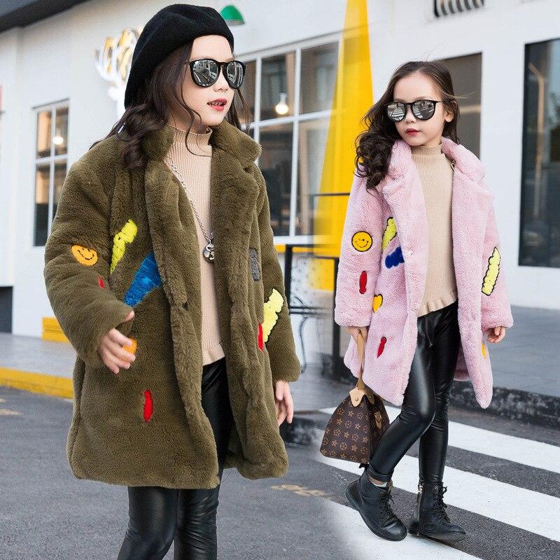 ФОТО teenage baby girls winter coat faux fur 2016 green black pink fake fur padded thick girls coats and jackets winter 2016 warm