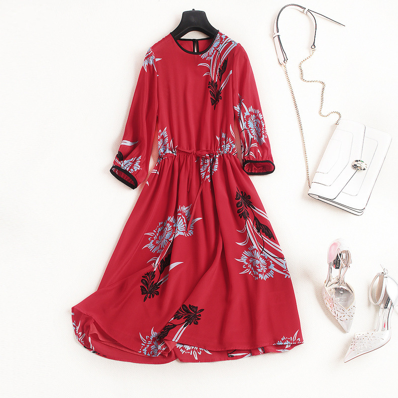 New arrival 2018 spring summer fashion women floral print silk dress a-line elegant 3/4 sleeve casual dresses red