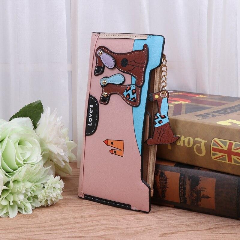 Thinkthendo Для женщин Искусственная кожа бумажник сцепления милые собаки узор HASP бумажник держателей карт кошелек леди длинное Сумочка