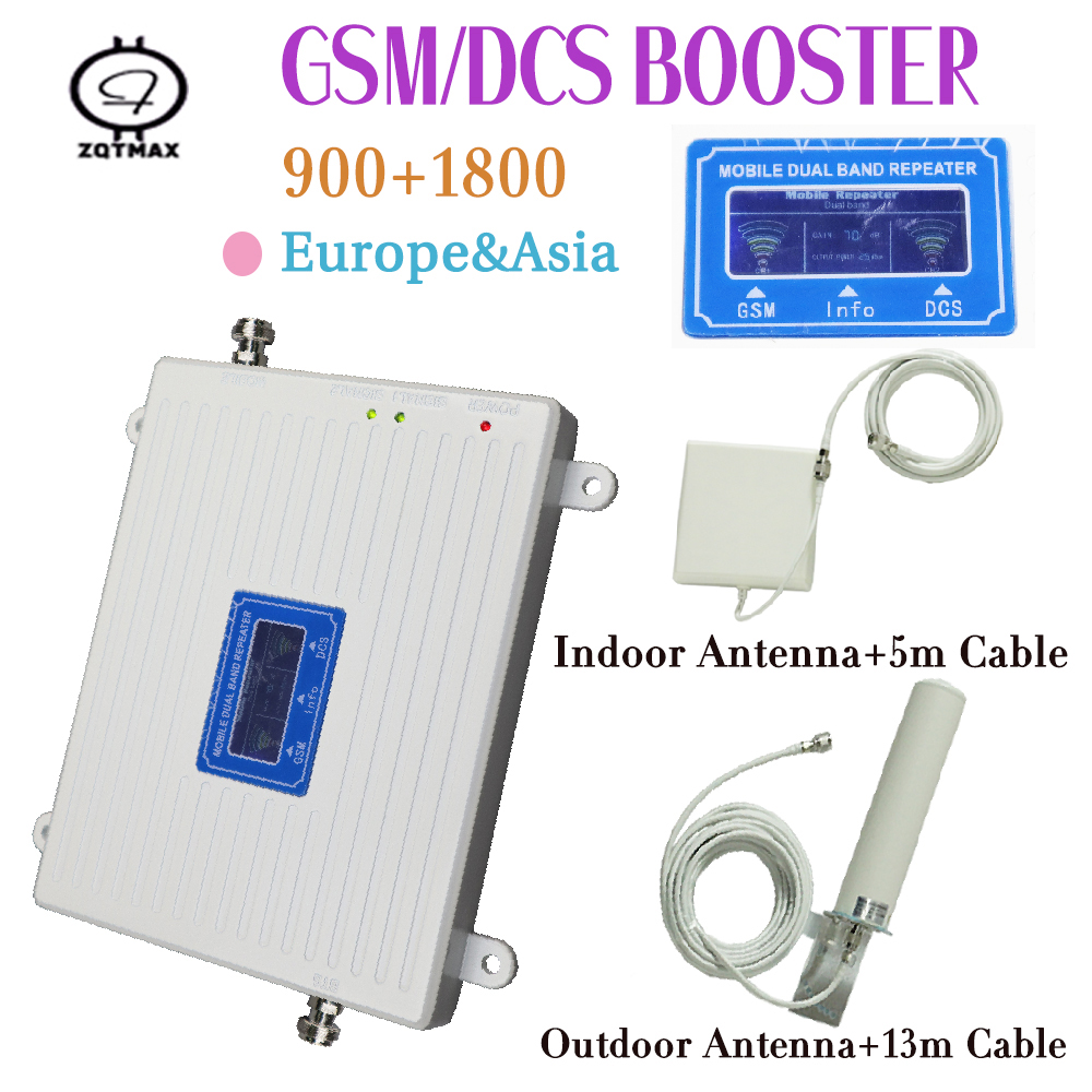 2G 4G Moblie Signal Repeater GSM 900 4G LTE / DCS 1800mhz Dual Band Cellular Signal Booster 70dB Gain LCD Display 4G Amplifier