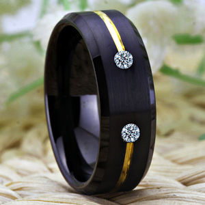 Image 3 - Tungsten Wedding Band Engagement Rings For Women Classic Mens Black Tungsten Ring Golden Groove CZ inlay Anniversary Gift Ring
