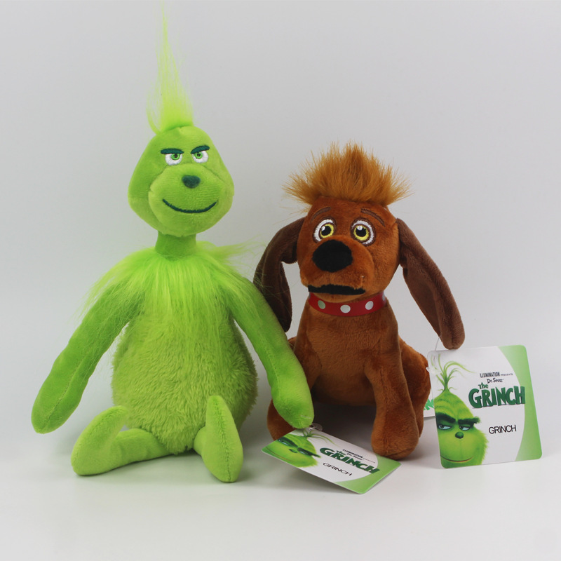 2pcs/lot 18-30cm Grinch Plush Toys How The Grinch Stole  Grinch Max Dog Plush Doll Toy Soft Stuffed Toys For Children Kids Gifts