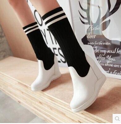 Usar Mujeres Para Altas Primavera Alta 2017 Nuevas 's Dos Elástica Negro Otoño Pendiente Y blanco Tela Con De Las Zapatos Botas qY8x8Tzf