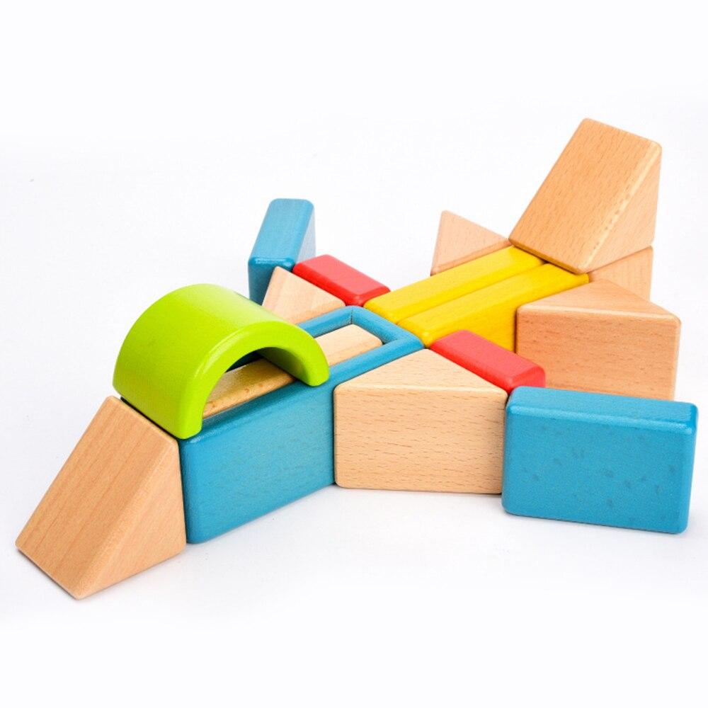 Enfants blocs de construction créatifs arc-en-ciel assemblage blocs jouets Oyuncak Montessori Brinquedos cadeau blocs en bois jouets pour enfants