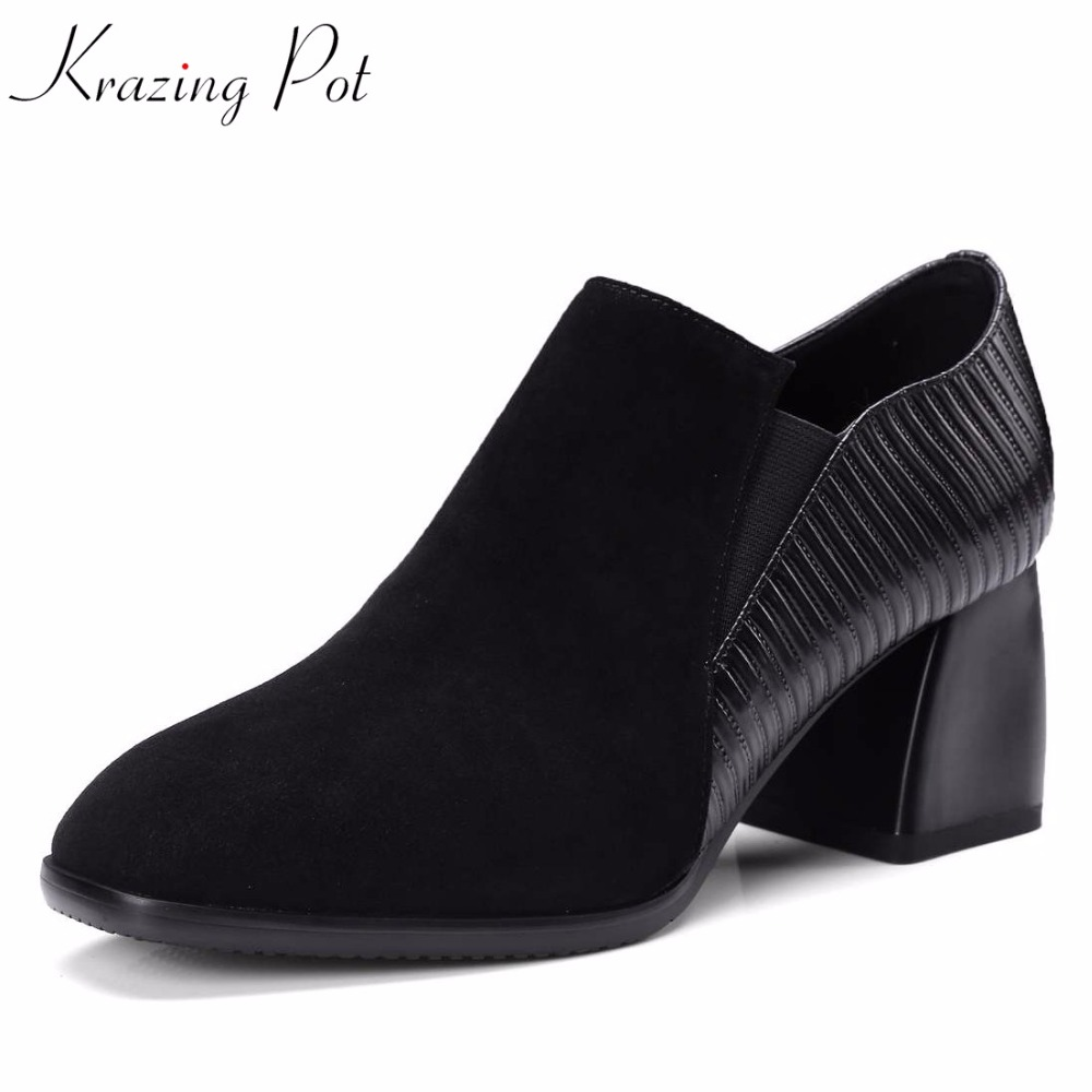 KRAZING POT 2018 superstar classic cow leather brand shoes med heels women pumps round toe slip on autumn beauty party shoes L63 2018 superstar genuine leather streetwear med heels tassel slip on women pumps round toe retro sweet handmade casual shoes l03