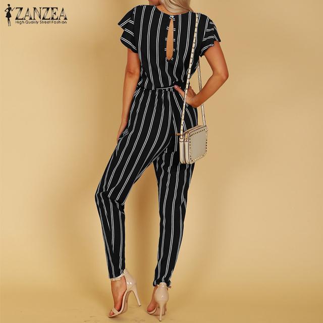 S 5XL ZANZEA 2020 Summer Sexy Deep V Neck Party Jumpsuit Women High Waist Striped