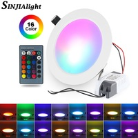 5W 10W RGB   LED     Panel     Light   With Remote Control Round Shape Downlight Lamp Ceiling   Lights   Indoor Lighting   Led     Lights   Decoration