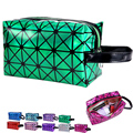 Square Geometric Diamond Pattern Laser Colors Cosmetic Bags Waterproof High Capacity Make Up Organizer HBG37