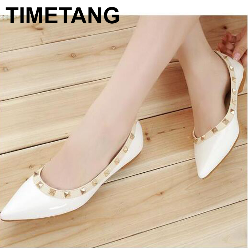 TIMETANG Women Flats Shoes Rivet Pointed Toe Patent Leather Gladiator Sexy Stud Women Ballet Flat Shoes Great Loafer Shoes C230 drfargo spring summer ladies shoes ballet flats women flat shoes woman ballerinas pointed toe sapato womens waved edge loafer