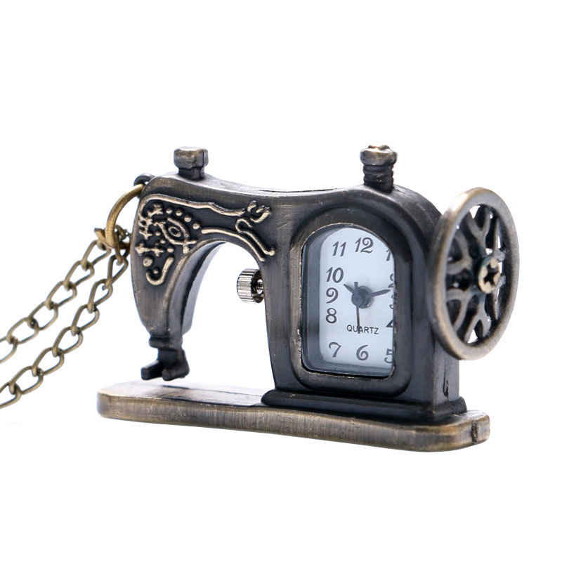 Chic Sewing Machine Designer Pocket Watch Bronze Antique Steampunk Fob Clock With Necklace Chain Popular Gift Free Drop Shipping  цены