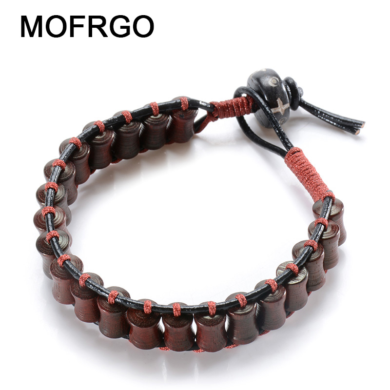 MOFRGO Red Thread Leather Braided Vintage Male Bracelet Natural Wood Beads Buddha Meditation Bracelets For Women Wooden Jewelry