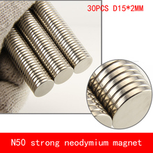 wholesale 30PCS D15*2mm round disc N50 Strong magnetic force rare earth Neodymium magnet diameter 15X2MM