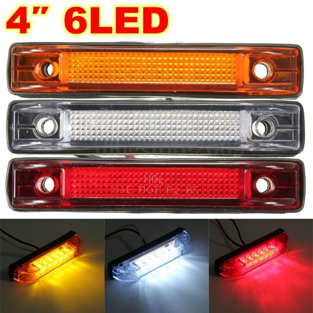 CYAN SOIL BAY 6 LED Clearance Side Marker Light Indicator Lamp Strip Truck Trailer Lorry 12V 24V White Amber Yellow Red 12v 6 smd led car bus truck trailer lorry side marker indicator light side lamp indicators 2pcs set car lights accessories