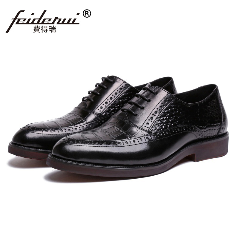 New Arrival Platform Wing Tip Carved Man Dress Shoes Genuine Leather Brogue Cow Oxfords Round Toe Luxury Brand Men's Flats XE80 ruimosi high quality wing tip man dress