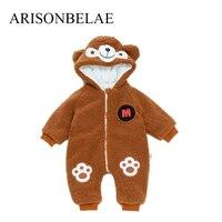 ARISONBELAE Baby Boys' Bodysuits Winter Costume Thicken Cute Teddy Bear Design Jumpsuit Newborn Baby Clothes Christmas Snowsuit