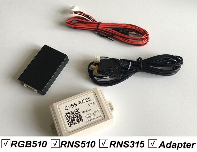 V9.3 CVBS RGB Adapter i AV do RGB Adapter Converter dla VW Volkswagen RCD510 RNS510 RNS 510 RNS 315 RCD 510 klapki Logo kamery