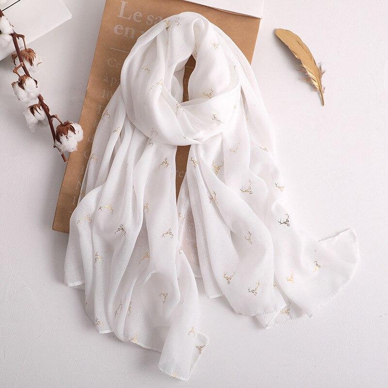 Luxury Brand 2019 Fashion Summer Cotton Scarf For Women Long Golden Elk Soft Wrap And Shawls Beach Hijab Head Female Foulard