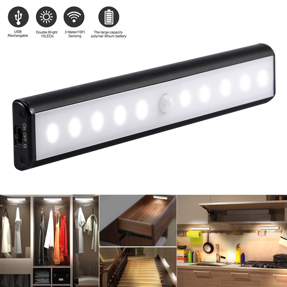 Motion Sensor Light USB Rechargeable 10 LED Lights for Wardrobe Stair Hallway Cabinet @8 WWO66