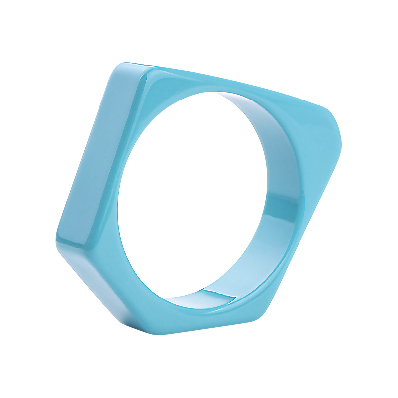 Teal Metallic Resin Plastic Bangle Bracelet