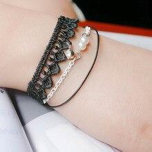 Casual Romantic Women Simulated Pearl Lace Bangle Bracelet Bohemia Ladies Bride Jewelry Decoration Women Travel Charm Wristband