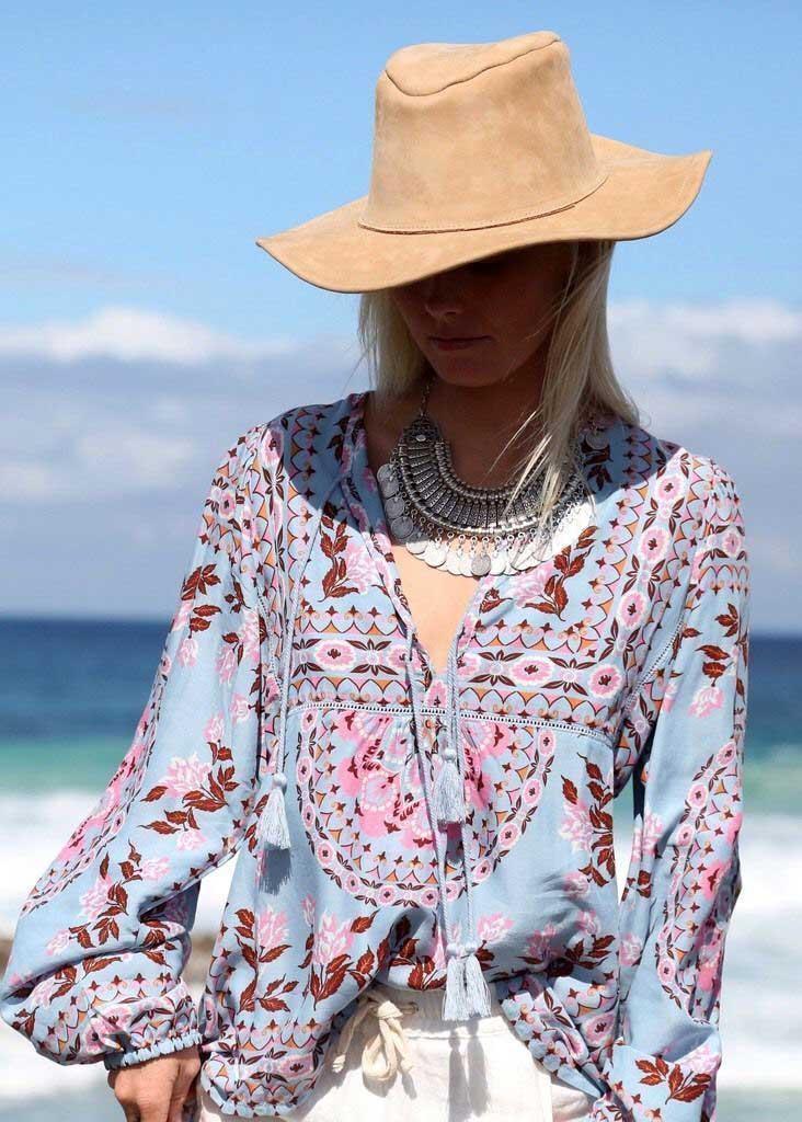 b91ea2cf9e2ea Boho Inspired shirt new floral print peasant blouse V-Neck tassel tie long  Sleeve shirt
