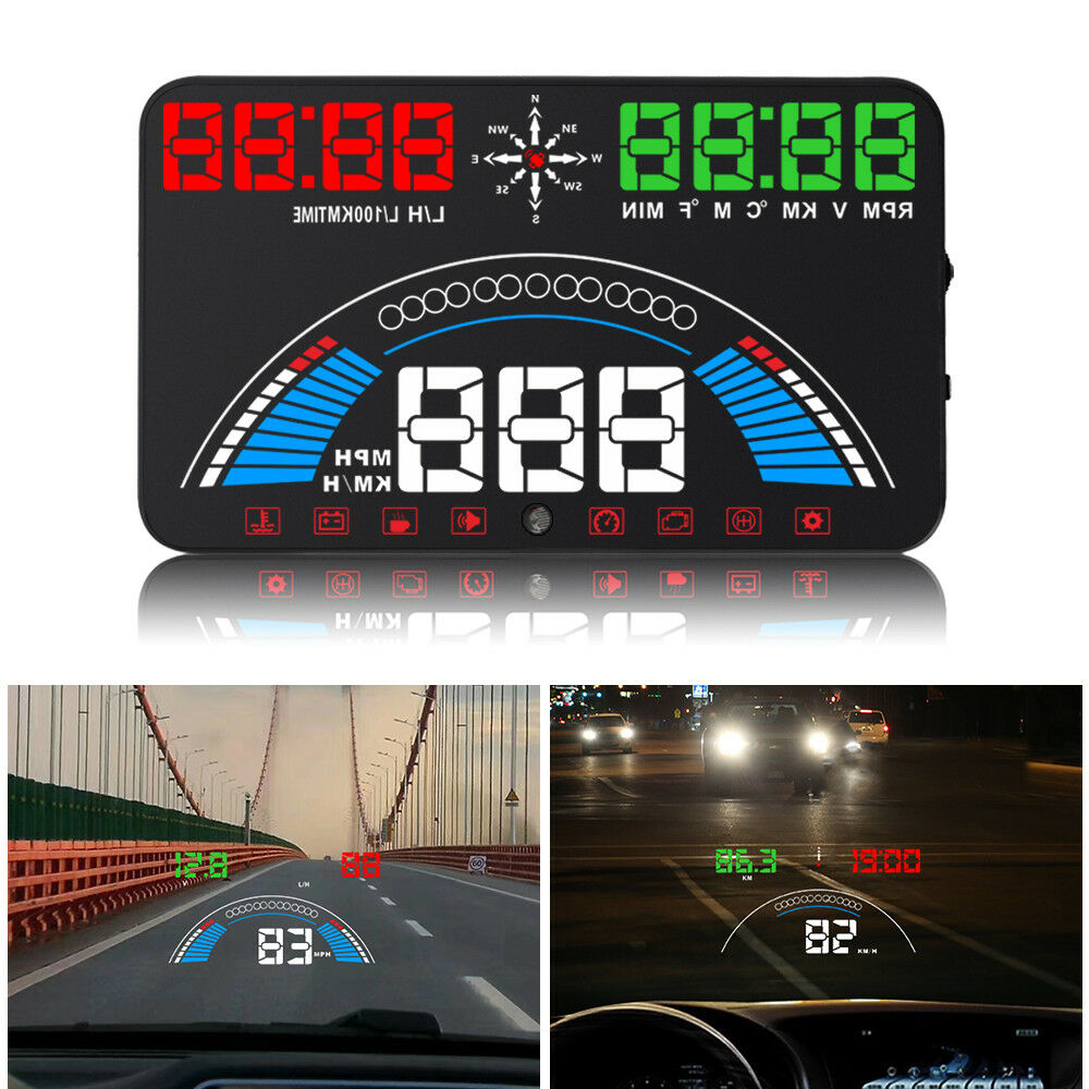 5 8inch Auto HUD Head Up Display OBD1 2 GPS Speedometer MPH KM h Speed Warning