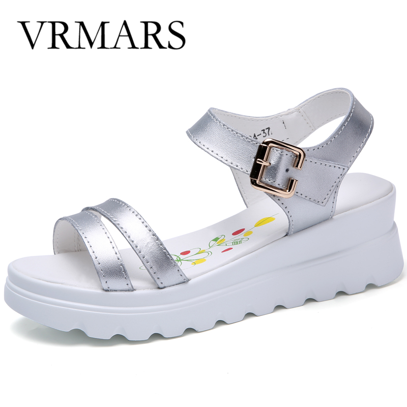 VRMARS 2017 Summer Women Sandals Genuine Leather Wedges Sandals High Heel Platform Shoes Woman Fashion Zapatos Mujer Plataforma