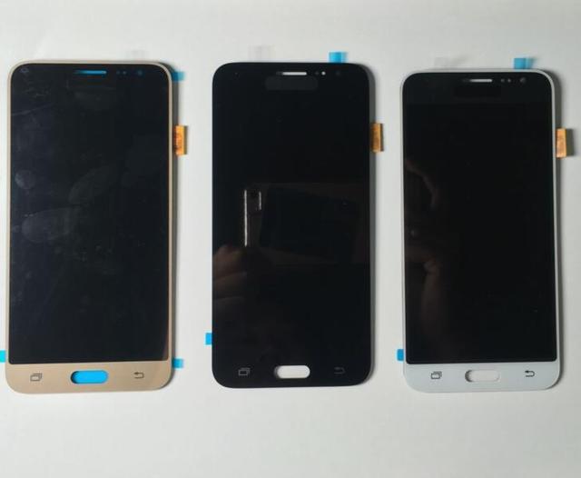 100% pantalla lcd de prueba para samsung galaxy j3 j320 j320a J320F J320M pantalla Táctil con la Asamblea del digitizador negro Blanco Oro Color