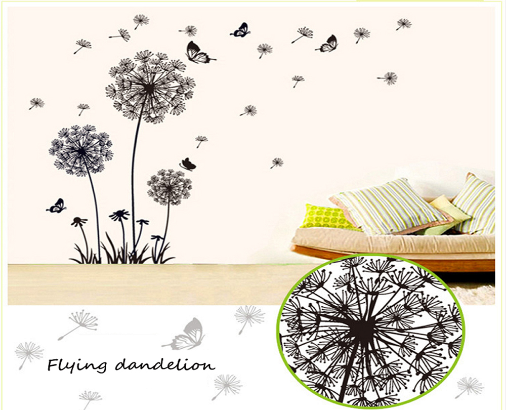 Flying Dandelion Wallpaper Delicate Stickers Stylish Flowers Applique Home Improvement Household Supplies