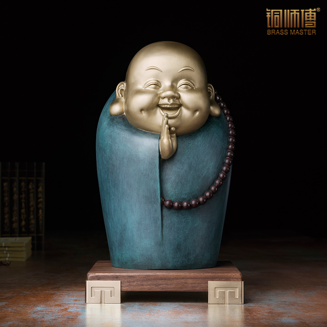 Smiling Little Monk Character Sculpture Craft Collectible Children Room  Table Decoration