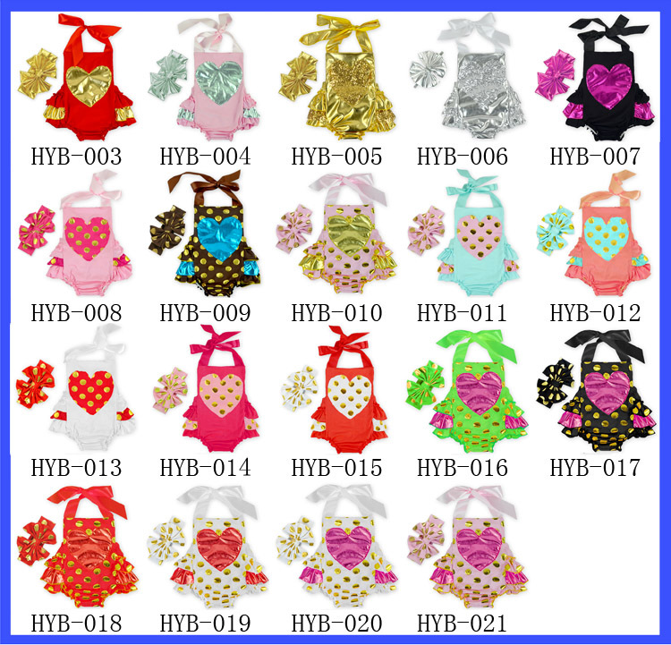 Summer new Baby Girl Headbands+Rompers 2 Piece Sets Children's clothing Kids Love gilt Jumpsuits Romper Two piece suit